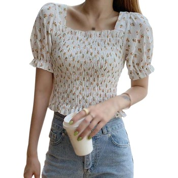 Fashion Slim Blouses Summer Women Blouse Square Collar Puffle Sleeve Floral Tops Girls Short Sleeve Hot Tops Croptops Femme New image