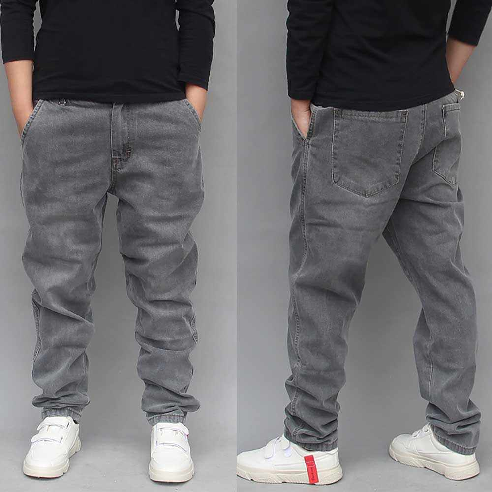 Men Drop Crotch Distressed Denim Trousers Loose Harem Jeans Tapered Pants Casual