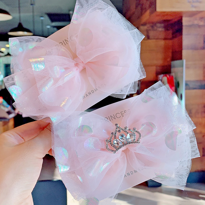 6inch Super Soft Dot Mesh Hair Bows Crystal Rhinestone Crown Girls Hair Clips Adorable Princess Birthday Party Hair Accessories