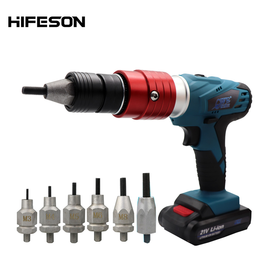 Electric Threaded Rivet Nut Guns 21V Electrical Insert Riveter Riveting Rivnut Tool For M3 M4 M5 M6 M8 M10 Nut