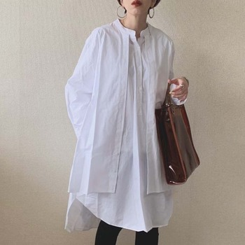 цена на Korean Fashion Women Blouse 2020 Spring Summer Long Sleeve Fake Two Piece Patchwork Pullover Loose White Shirts Female Tops