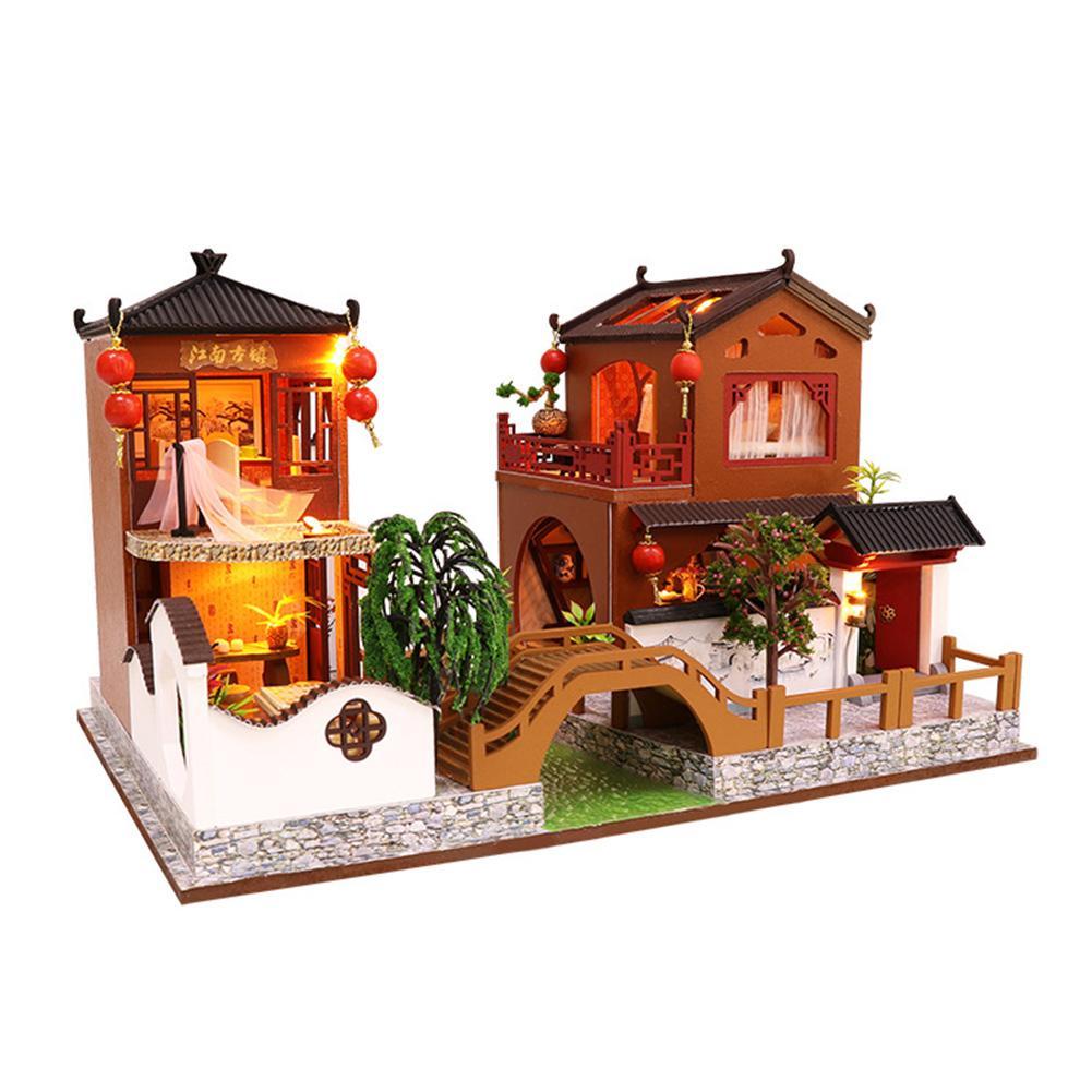 Brinquedos de casa de bonecas estilo chinês modelo arquitetônico diy artesanal casa natal presente aniversário crianças brinquedos educativos