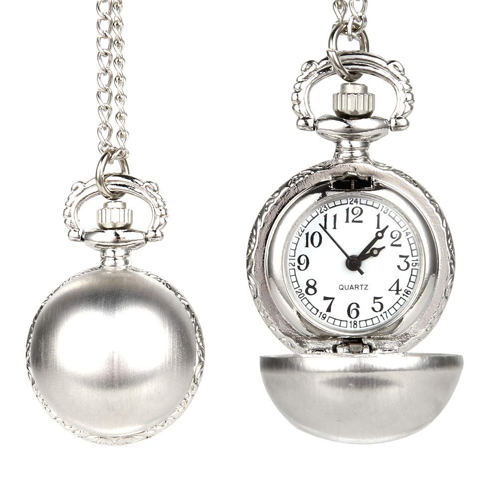 New Retro Silver Color Round Ball Quartz Fob Pocket Watch With Sweater Necklace Chain Gifts MV66
