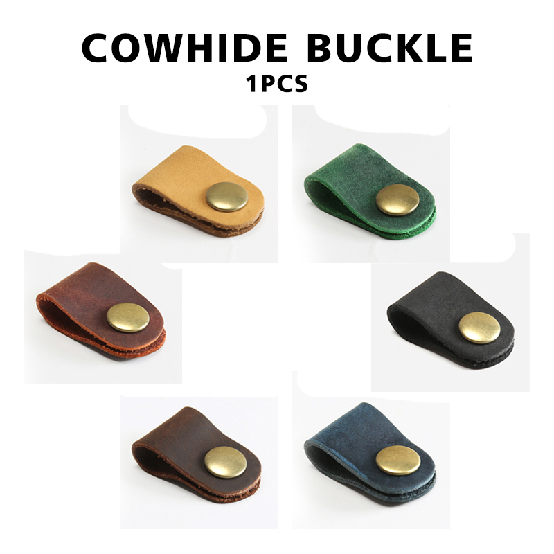 1pcs Cowhide Hub Headphone Cable Buckle Storage Buckle Gift Winder Leather