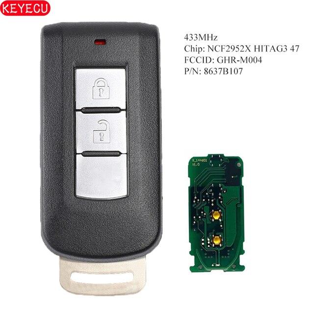 KEYECU llave remota inteligente Go 8637B107 sin llave, 2B, 433MHz, HITAG3, NCF2952X, ID47, para Mitsubishi Montero, L200, 2004 2008, FCCID: GHR M004