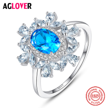 AGLOVER Luxury Zircon Ring For Women's Engagement Wedding 925 Sterling Silver Flower Ring Fashion Charm 2019 New Jewelry