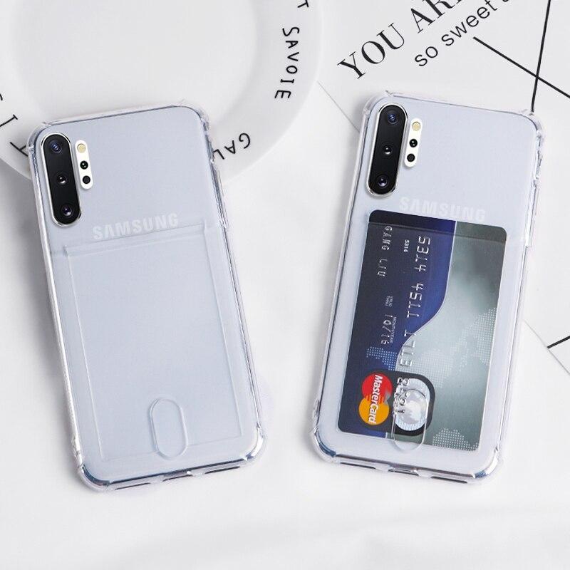 Fashion Credit Card Holder Transparent Case For Samsung Galaxy S8 S9 Plus S10 Lite Note9 10 A10 A20 A40 A50 A70 J4 J6 TPU Cover