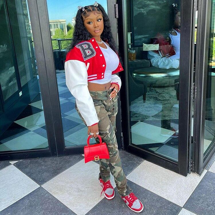 Hc1edb67649e64ab8ba532579a37ee25fe Baseball Jackets for Women 2021 Autumn Letter Print Color Patchwork Cropped Long Sleeve Loose Short Bomber Jacket