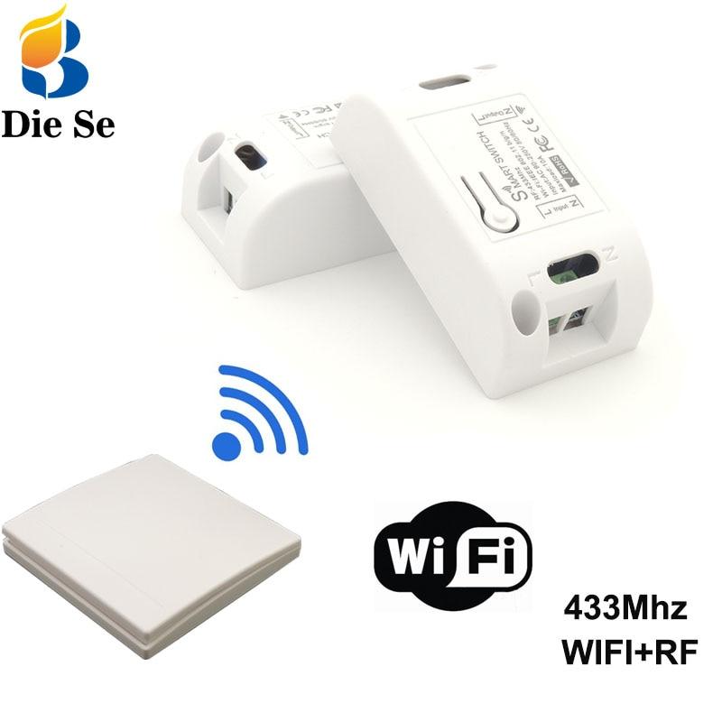 Беспроводной смарт-переключатель с Wi-Fi, радиочастотный Приемник 433 МГц, настенная панель с дистанционным управлением для светильник щения