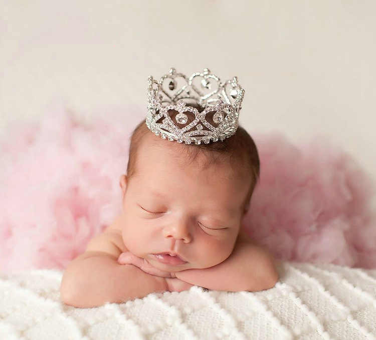 new priness baby headdress crystal crown round crown hair ornament  Newborn Photography Props