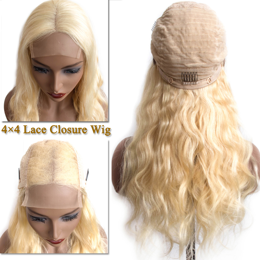 613 Blonde Color Human Hair Wigs 4×4 Lace Closure Wigs Brazilian Hair Wig For Black Woman Body Wave Remy Hair Wig