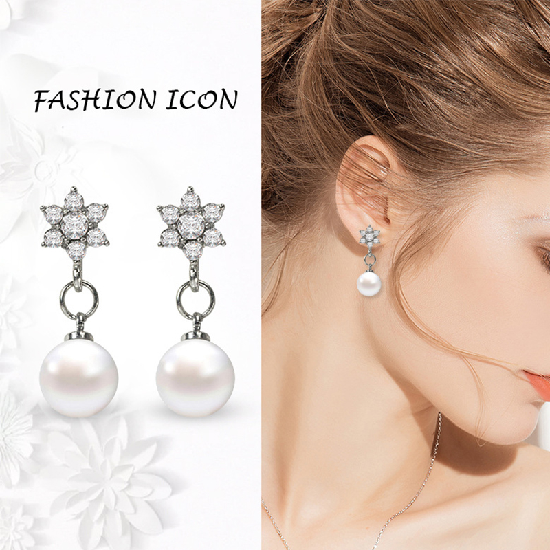 Classic Silver Clear Crystal Long Drop Earrings Star Pearl Earrings Bridal Wedding Jewelry for Women Female Gift Wholesale in Drop Earrings from Jewelry Accessories