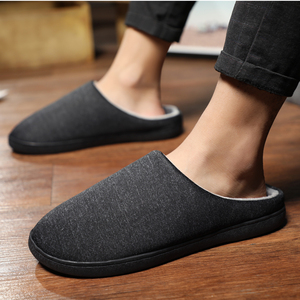 Image 1 - Mens Home Slippers Winter Warm Shoes With Fur Flat Casual Shoe Men Footwear Non slip Slipper Comfort Zapato Hombre Plus Size 47