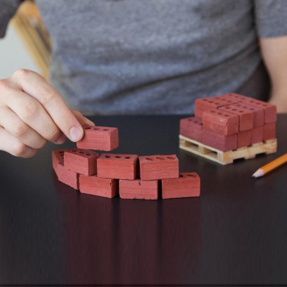 2pcs Wall Cement Toy New 32/25 Pcs Mini Cement Cinder Bricks Build Your Own Tiny Wall Mini Red Bricks D1
