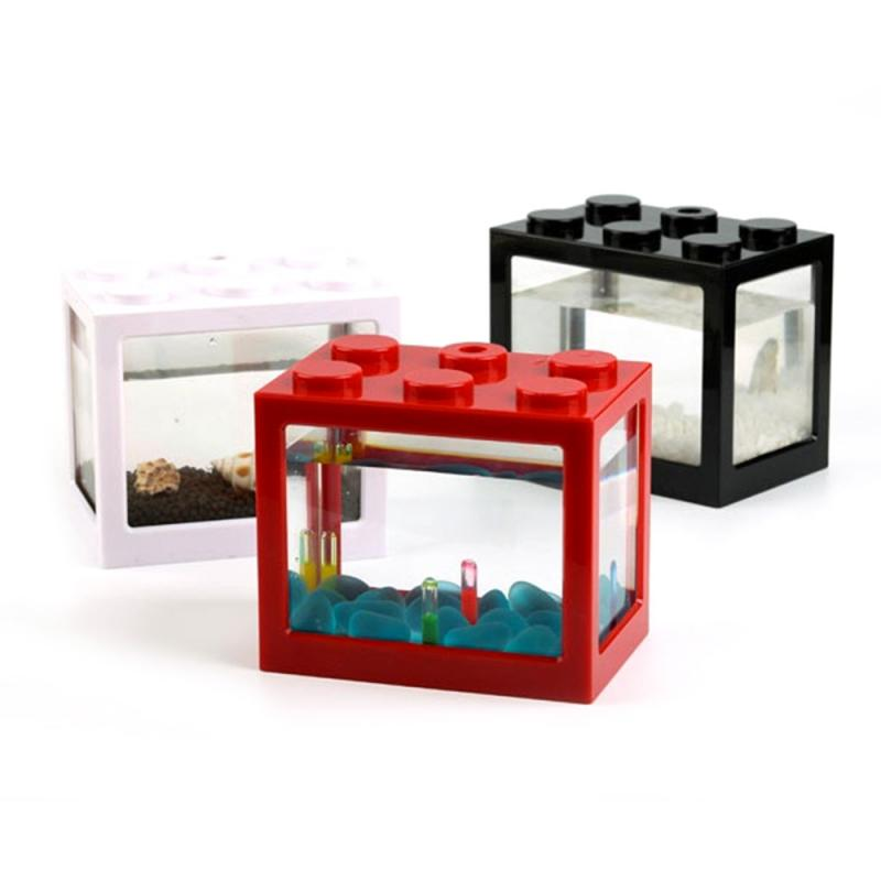 6 Colors Mini Aquarium Fish Tank Home Office Tea Table Decoration Small Building Block Fish Tank