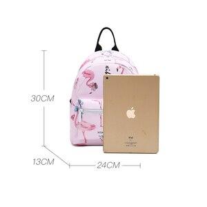 Image 2 - Flamingo Printing Mini Women Backpack Waterproof Nylon College Student School Bags For Teenage Girls Bookbag female Casual Daily