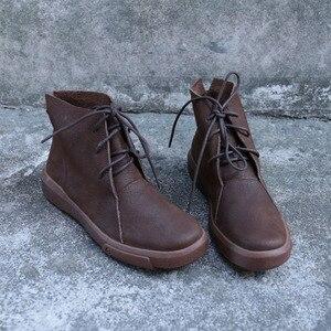 Image 2 - Женские ботильоны на шнуровке, Осенняя обувь из натуральной кожи, Нескользящие ботинки на резиновой подошве, 2018(9738)