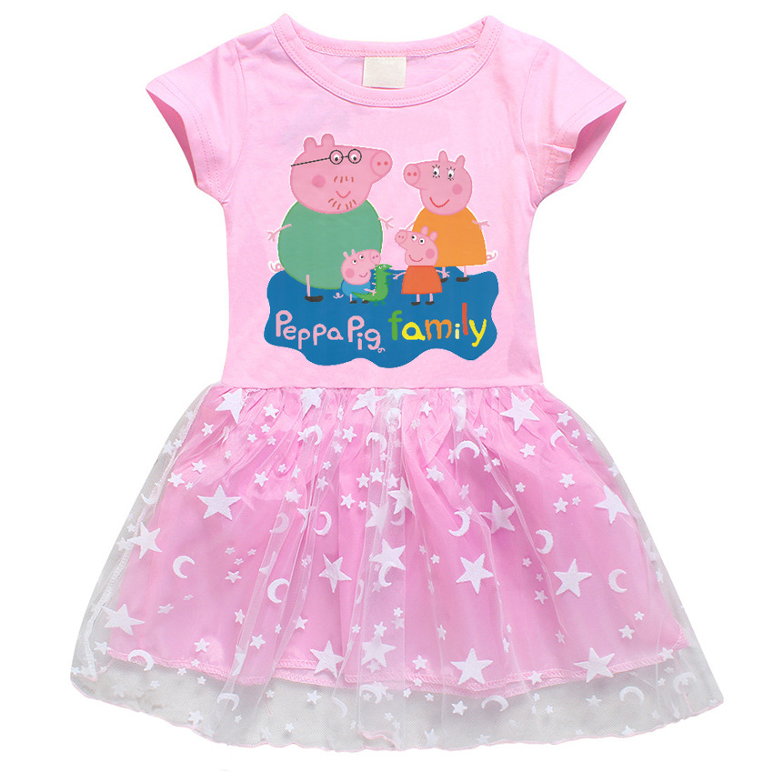 Peppa Pig Children Baby Girl Dress Summer Princess Short Sleeve Skirts Clothes Cute Cotton Party Lace Girl 3-8 Baby Skirt Dresse