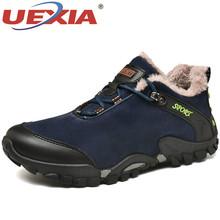 UEXIA mężczyźni śnieg buty 2019 ciepłe męskie kostki mężczyźni Outdoor Sport zimowe buty męskie obuwie gumowe buty do kostki obuwie spacerowe 38-46 tanie tanio Buty śniegu Mikrofibra Lace-up Pasuje prawda na wymiar weź swój normalny rozmiar Okrągły nosek Stałe Pluszowe Platforma