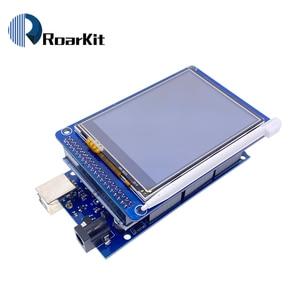 """Image 2 - 무료 배송! 3.2 """"TFT LCD 터치 스크린 디스플레이 320X240 ILI9341 + 3.2 인치 쉴드 + 메가 2560 R3 Arduino 키트 용 usb 케이블 포함"""