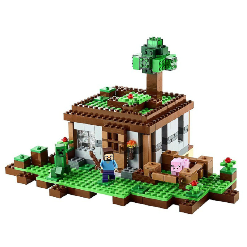 The First Night Building Blocks With Steve Action Figures Compatible LegoINGlys MinecraftINGlys Sets Toys For Children 21115