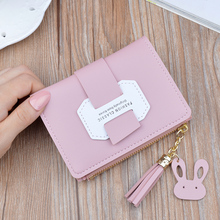 цена на New female short wallet fashion tassel decoration coin purse bi-fold PU female multicolor wallet