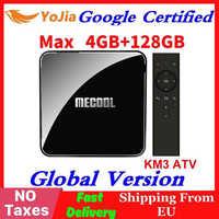 Certificado por Google Androidtv 9,0 MECOOL KM3 caja de TV Android 9,0 4 GB de RAM 64 GB 128G Amlogic S905X2 4 K Voz 5G Wifi KM9 Pro ATV 2G16G