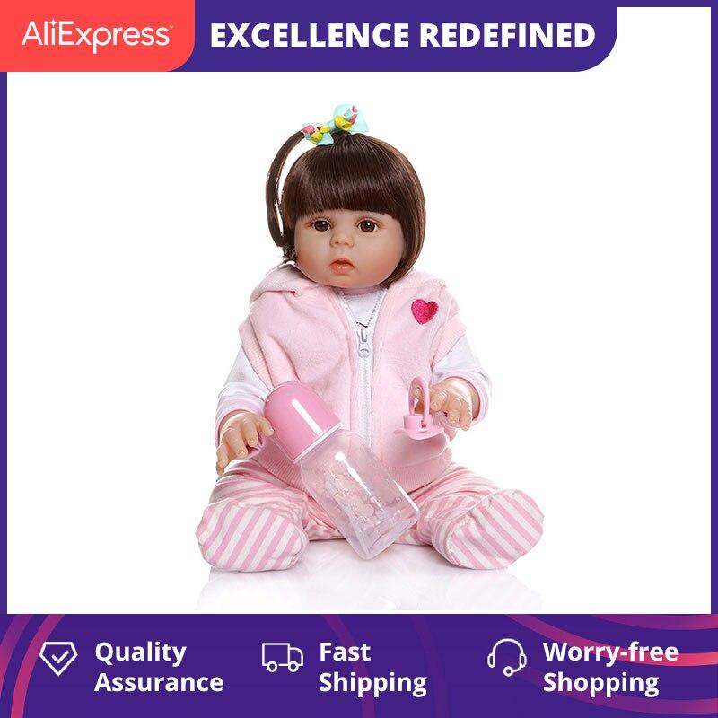 Npk bebe boneca renascer da criança 48cm silicone macio bebê renascer bonecas corpo macio lifelike menina natal surprice presentes da menina boneca