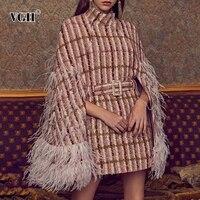 VGH Patchwork Feathers Diamonds Women Coat Turtleneck High Waist With Sashes Elegant Plaid Jackets Female 2020 Fashion Clothing