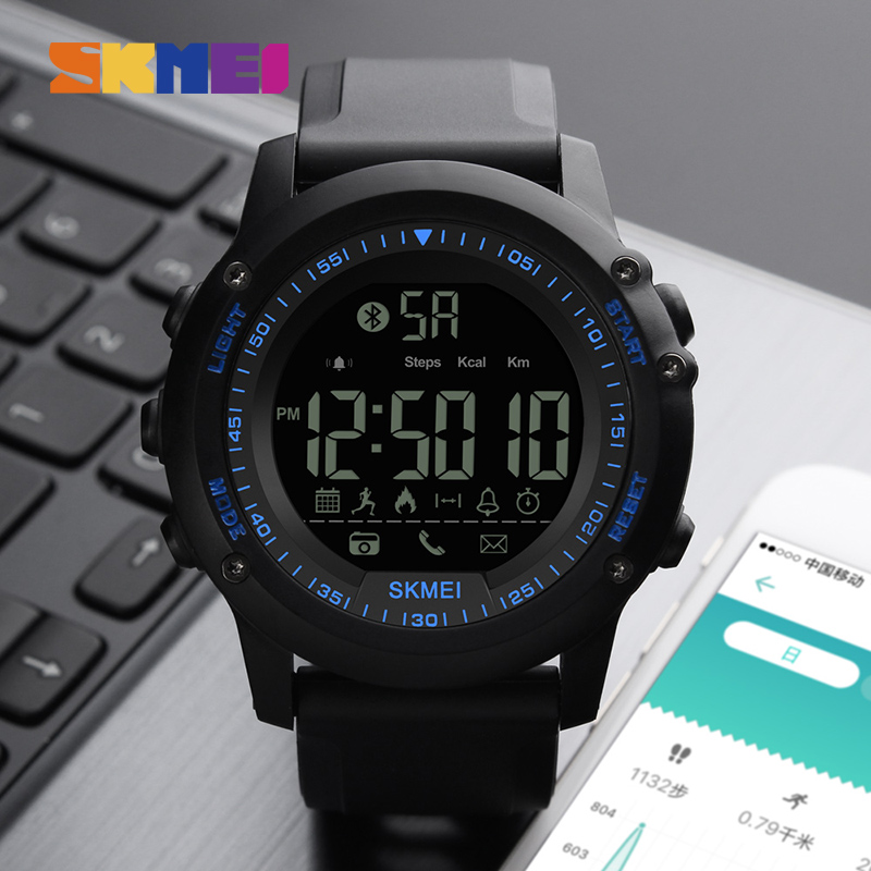 SKMEI Bluetooth Digital Watch Men Pedometer Wristwatch Calories Sport Male Clocks Waterproof Call Remind Multifunction Watches