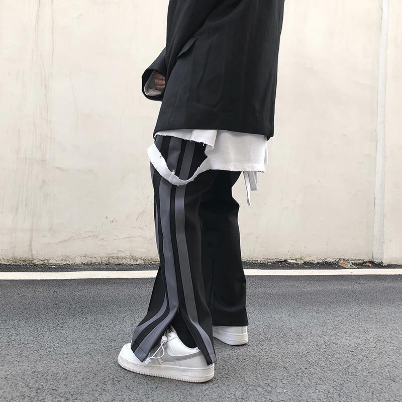 NiceMix wide leg straighted sport Pants Men Long Pants Button Man Casual Trousers Man Bottoms Clothes Plus Size tiktok loose