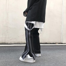 NiceMix wide leg straighted sport Pants Men Long Pants Button Man Casual Trouser