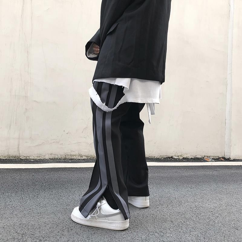 wide leg straighted sport Pants Men Long Pants Button Man Casual Trousers Man Bottoms Clothes 2020 new Plus Size tiktok loose