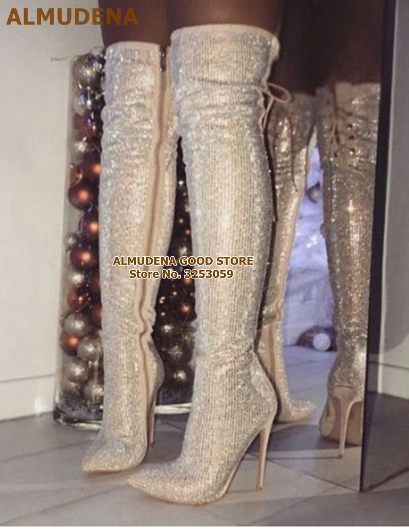 彩钻黑钻后系带长靴 (1)