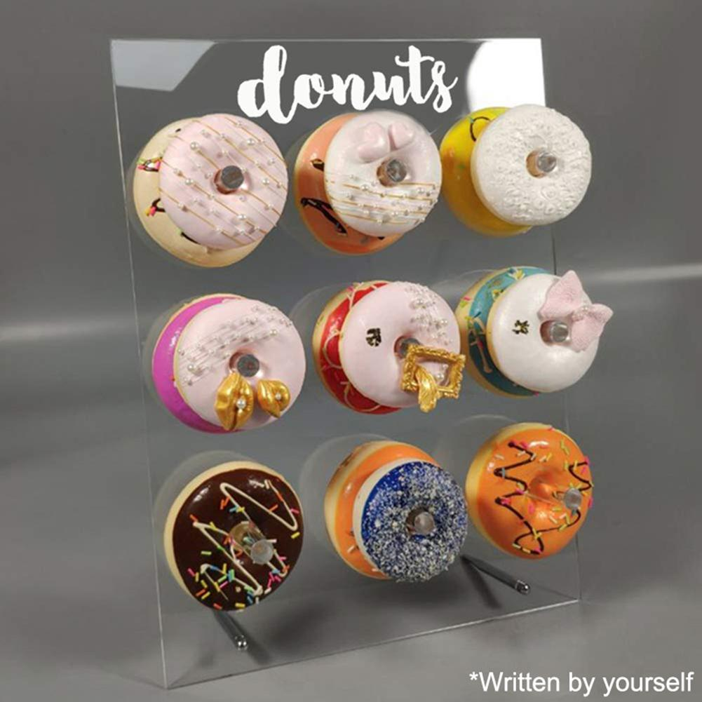 9 Pillars Donut Stand Doughnut Stand Clear Acrylic Stand Donut Wall Display Board For Birthday Wedding Event Table Decor Party