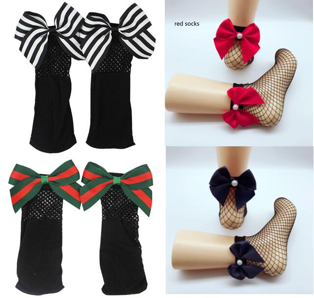 5pairs/10pcs Women Pearl Baby Girls Kids Mesh Socks Bow Fishnet Ankle High Lace Fish Net  Short Sock Fashion Summer One Size