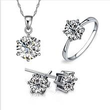 Women's Birthday Gift Wedding Jewelry Set Fashion 925 Sterling Silver Crystal Necklace Earrings Rings 3 Piece Free Shipping(China)