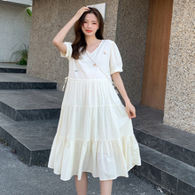A-Line 1101 Maternity-Dress Fashion Casual Summer Pregnant-Women V-Neck Korean for Loose