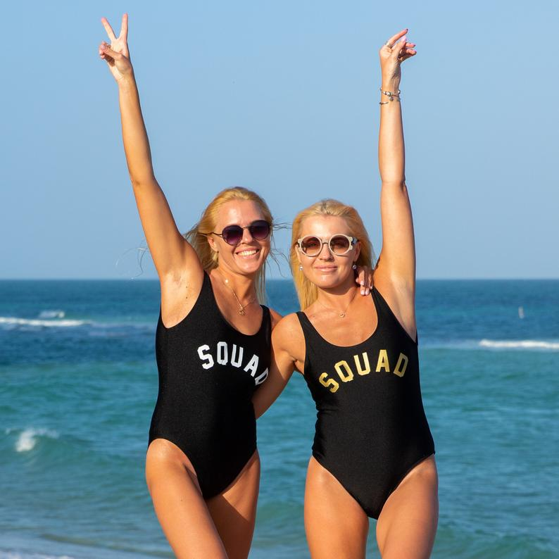 Skuggnas New Arrival Squad Black One Piece swimsuit for Bachelorette Party Matching Swimsuits Bridesmaid gifts High Cut Jumpsuit