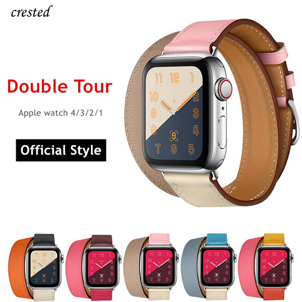 Double Tour For Apple watch band strap Apple watch 4 band 40mm 44mm  iWatch 3 band 42mm 38mm bracelet Genuine Leather watchband