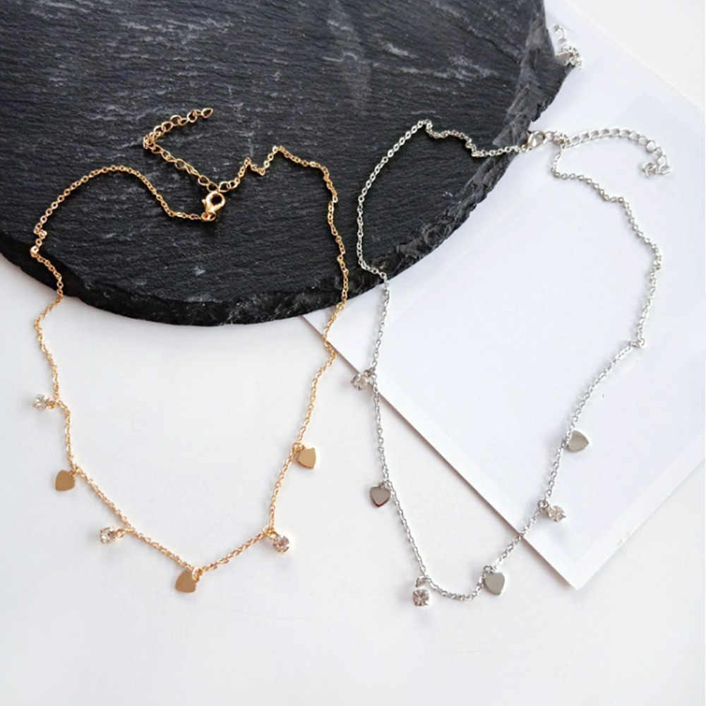 Simple Gold Silver Color Heart Choker Necklace For Women Metal Short Chain Necklaces Bohemia Crystal Pendant Female Jewelry