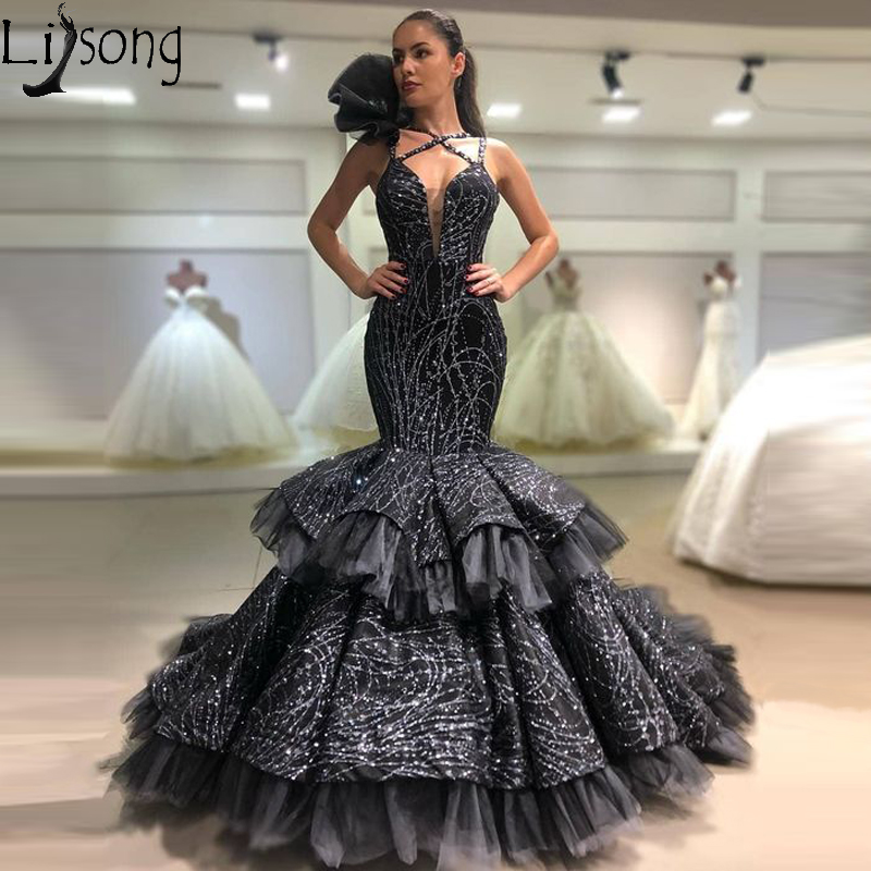 Sparkly Black Evening   Dress   Mermaid V Neck Tiered Skirt Formal Party   Prom     Dresses   robe de soiree Ruffles Gown abendkleider