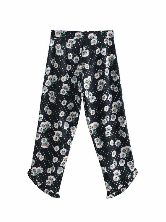 C81-0230 Europe And America Fashion Daisy Printed High-waisted Non-symmetrical Micro Bell-bottom   Pants   Women's Casual   Capri     Pant