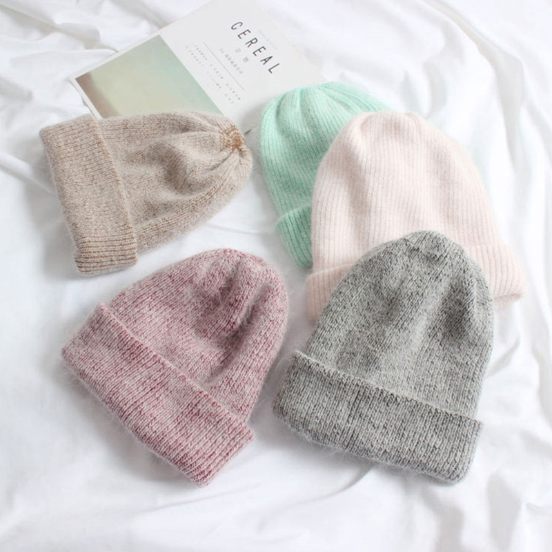 Hot Selling Winter Hat Real Rabbit Fur Winter Hats For Women Fashion Warm Beanie Hats Women Solid Adult Cover Head Cap