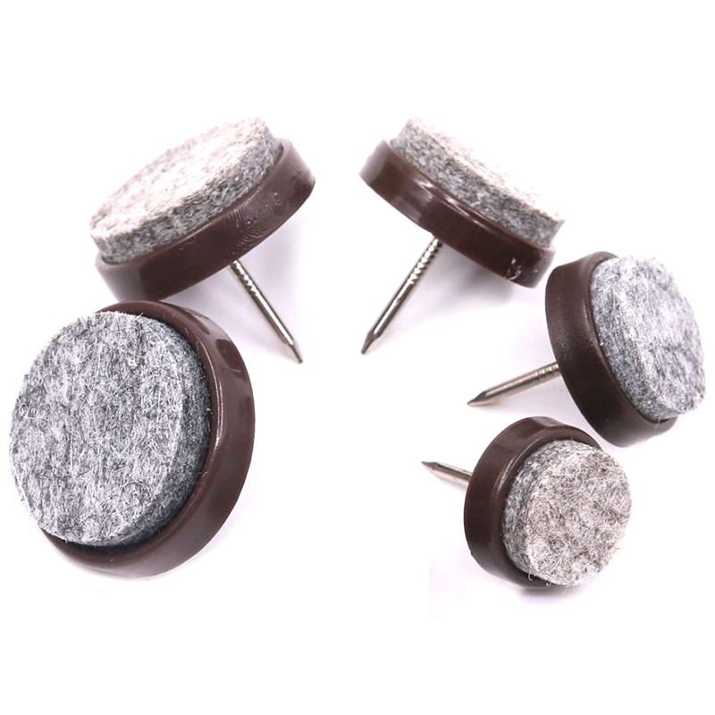 85Pcs Brown Heavy Duty Nail-on Anti-Sliding Felt Pads for Furniture Chairs Stools Tables Leg Feet - 17/20/22/24/28mm