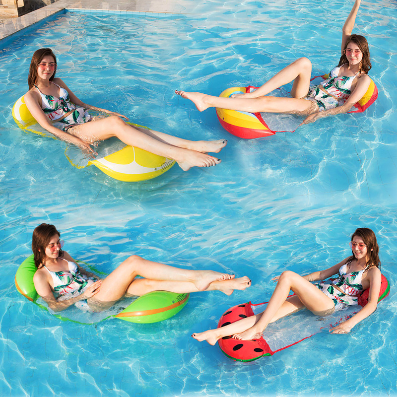 Air Mattress Foldable Grid Swimming Pool Inflatable Floating Mat Bed Beach Lounge Chair Matelas Water Air Cushion Women/Children