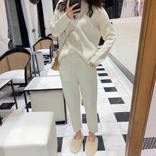 Women Sweater Two Piece knitted Sets Slim Tracksuit 2019 Spring Autumn Fashion Sweatshirts Sporting Suit Female cheap NoEnName_Null SL9035 REGULAR O-Neck Full Elastic Waist Ankle-Length spandex Cashmere Blends Ankle-Length Pants Casual Pullover