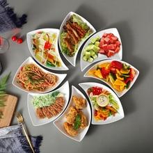 Модная керамическая Бытовая креативная тарелка для овощей, глубокая Поворотная тарелка, набор посуды Dim Sum, тарелка с фруктами, столовые приборы, кухонные столовые приборы