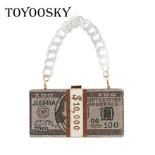 New crystal Money USD bags Dollar Design Luxury Diamond Evening Bags Party Purse Clutch Bags Wedding Dinner Purses and Handbags цена 2017