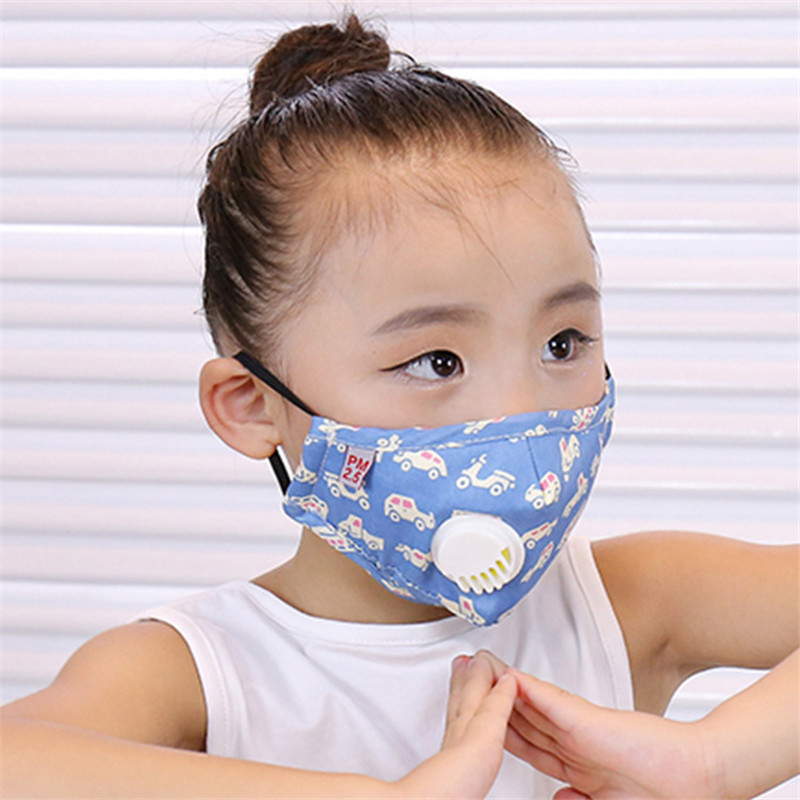 5-12 Years Kids Masks Pm2.5 Cotton Children Cartoon Mask With Breathing Valve Filter Anti-fog Mask Washable Windproof  Dust Mask